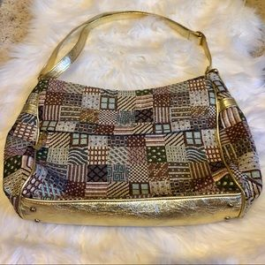 SAS Leather Patchwork Vintage Gold Metallic Bag